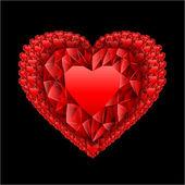 Heart from many rubies — Stock Vector