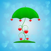 Ornamental umbrella on blue background — Vecteur