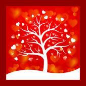 árbol con corazones en lugar de hojas — Vector de stock