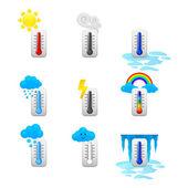 Thermomètre différentes icônes ensemble — Vecteur