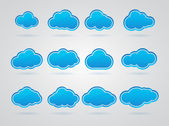Collection of Blue clouds — Vecteur