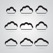 Collection of grey clouds — Stock Vector