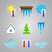 Different temperature color icons — Stock Vector
