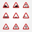Stock Vector: Set of warnings road signs