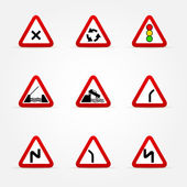 Set of traffic signs - warnings — Stock Vector
