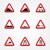 Set of warnings road signs — Stock Vector