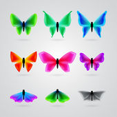 Set of different color butterfly — Stock Vector