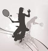 Tennis girl background — Stock Vector