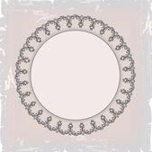 Round floral vintage frame — Stock Vector