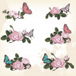 Royalty-Free Stock Vector Image: Roses with butterflies