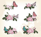 Roses with butterflies — Stock Vector