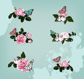 Collection of roses with butterflies — Stock Vector