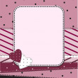 Stock Vector: Pink frame with two hearts