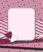 Pink frame with two hearts — Stock Vector