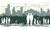 Outline silhouette of the city with crowd of — Stock Vector