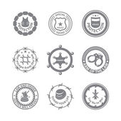 Set of protection badges and labels — Stock Vector