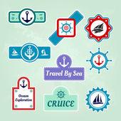 Set di icone di mare viaggi aziendali — Vettoriale Stock