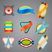 Collectie van verschillende kleur lint etiketten — Stockvector