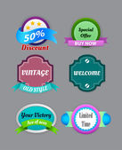 Kolekce vintage barevný design etiket — Stock vektor