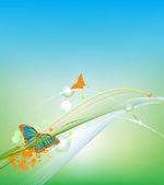 蓝色背景与美丽的蝴蝶 — 图库矢量图片
