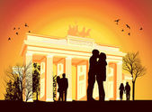 Couple kissing in the background of Brandenburg Gate — Stock Photo