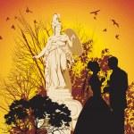 Wedding couple and the Greek goddess — Stock Vector #23217684