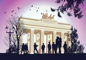 Many gathered at the square near the Brandenburger Gate — Stock Vector