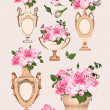 Stock Vector: Collection of vases, roses on pink background