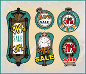 Conjunto de relógio diferente para venda — Vetor de Stock