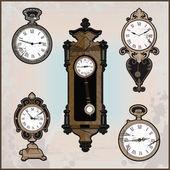 Collection of retro clocks — Stock Vector