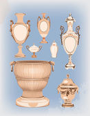 Collection of decorative ceramic vases — Stock Vector