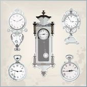 Set of many vintage retro clocks — Stock Vector