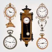 Set of vintage clocks — Stock Vector