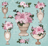 Collection of vases, roses on blue background — ストックベクタ
