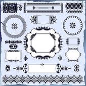 коллекция красивых винтажные элементы декоративно-отделочные для дизайна — Cтоковый вектор