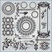 Beautiful ornamental pattern on gray background — Stock Vector