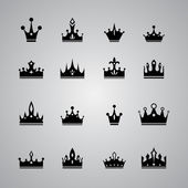 Collection of many different crowns — Stock Vector