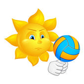 Sun is playing volleyball — Stock Vector