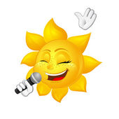 Sun with freckles is singing — Stock Vector