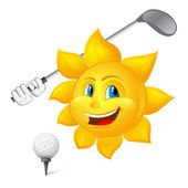 Blue-eyed sun is playing golf — Stock Vector