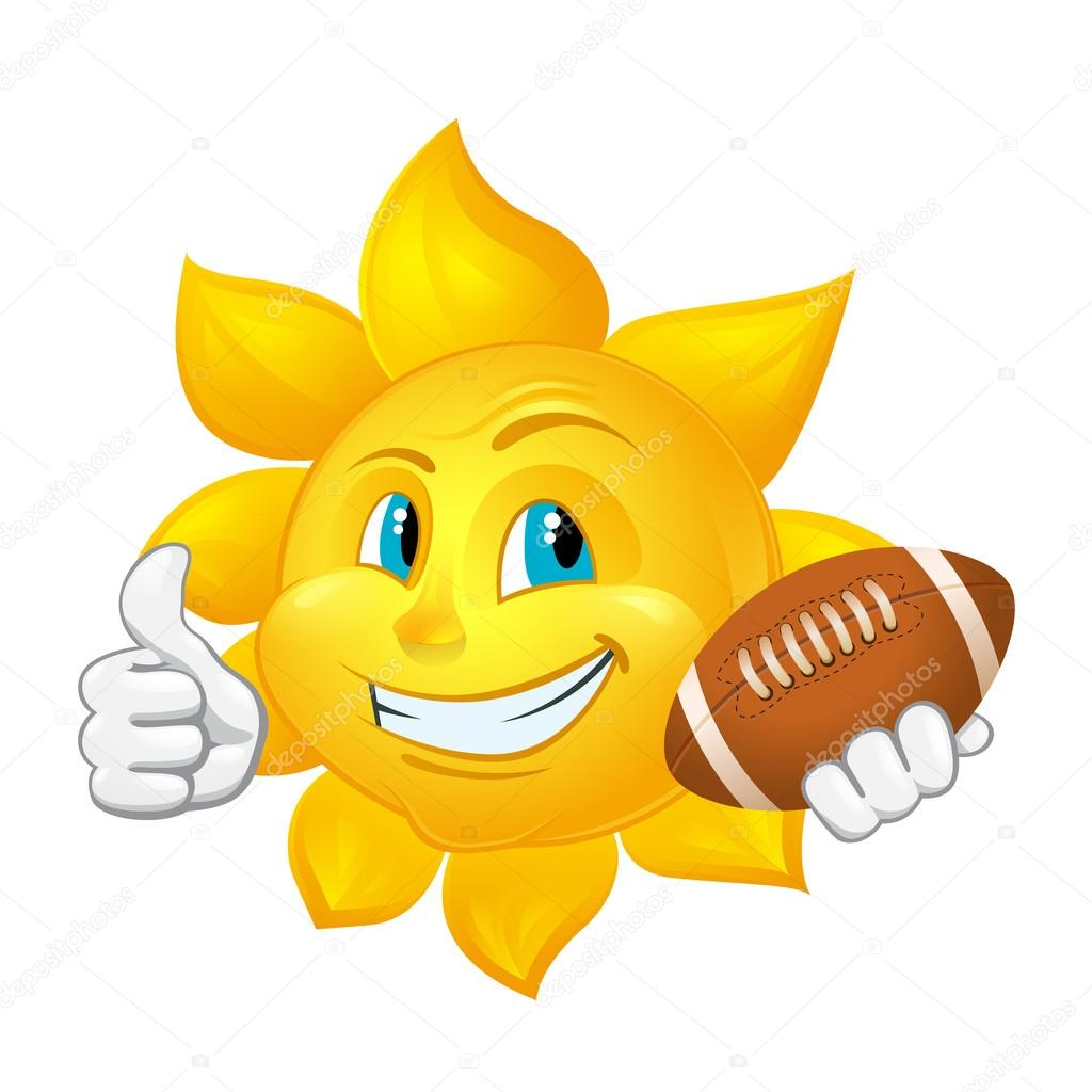Sole di cartone animato con palla da rugby — vettoriali