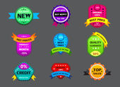 Set of different color labels — Stock Vector