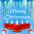 Blue picture with Christmas candles, streamers and icicles — Stock Vector