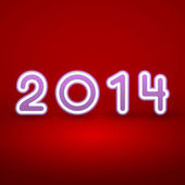2014 New Year image on red background with white and pink figur — Stock Vector