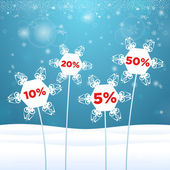 Snowflakes in the form of flowers with sale — Stock Vector