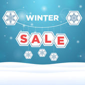Inscription sale and snowflake — Stock Vector