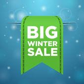Winter sale big green ticket — Stock Vector