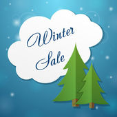 Paper applique fir-tree and winter sale cloud — Stockvektor