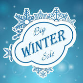 Big winter sale on snowflake — Stock Vector