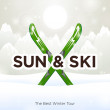 Stock Vector: Sun & Ski and sun snow background